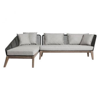 Netta Left Outdoor Sectional Sofa - Feather Gray Fabric, Back in Dark Gray Regatta Cord, Frame in Weathered Eucalyptus