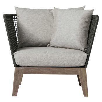 Netta Outdoor Lounge Armchair - Feather Gray Fabric, Back in Dark Gray Regatta Cord, Frame in Weathered Eucalyptus