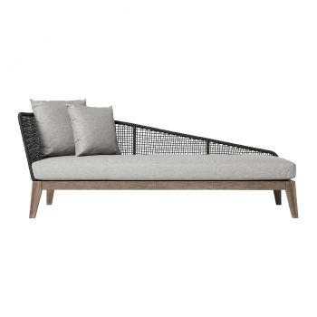 Netta Outdoor Right Chaise - Feather Gray Fabric, Structure in Dark Gray Cord, Frame in Weathered Eucalyptus
