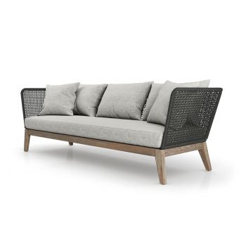 Cushions in Feather Gray Basketweave, Body in Dark Gray Cord, Frame in Weathered Eucalyptus