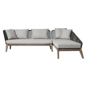 Netta Right Sectional Sofa - Feather Gray Fabric, Back in Dark Gray Regatta Cord, Frame in Weathered Eucalyptus