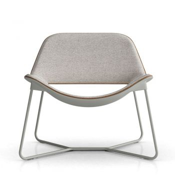 Oakley Lounge Chair - Oatmeal Fabric, Matte Ice Lacquer on Matte Ice Steel