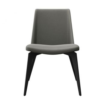 Orchard Dining Chair - Warm Grey Leather and Black Oak on Matte Dark Steel