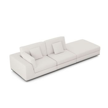 Perry Left Open Sofa - Chalk Fabric