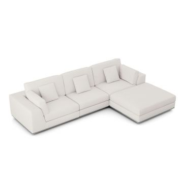 Perry Sectional 3 Seat Sofa with Ottoman - Chalk Fabric