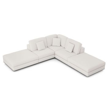 Perry Sectional Armless Corner Sofa - Chalk Fabric