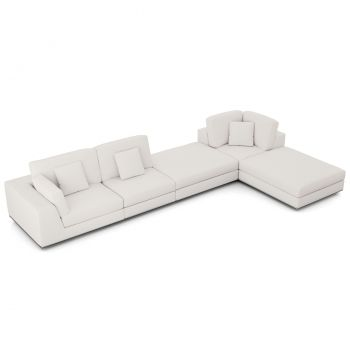 Perry Sectional Left Large 1 Arm Corner Sofa with Ottoman - Chalk Fabric
