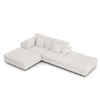 Perry Sectional Left Open Sofa with Ottoman - Chalk Fabric