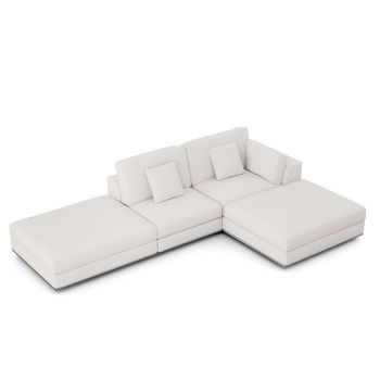 Perry Sectional Right Open Sofa with Ottoman - Chalk Fabric