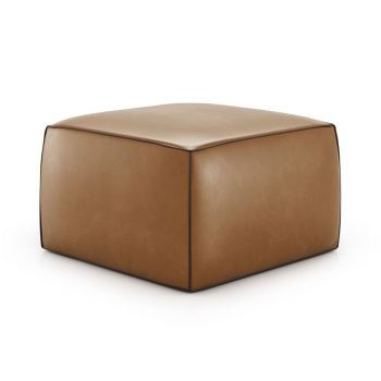 Pitt Pouf - Cognac Vintage Leather with Cacau Leather Trim