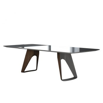 Preston Dining Table - Titanium Glass, Legs in Metallic Titanium and Walnut