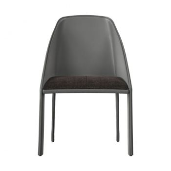 Sidney Dining Chair - Charcoal Denim Fabric, Back and Legs in Gray Reclaimed Leather