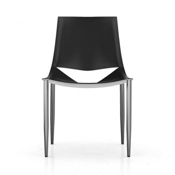 Sloane Dining Chair - Black Leather and Carbon Steel