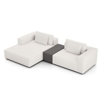 Spruce Left Mini Sectional with Armrest - Chalk Fabric