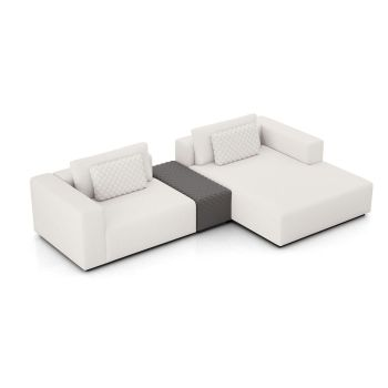Spruce Right Mini Sectional with Armrest - Chalk Fabric