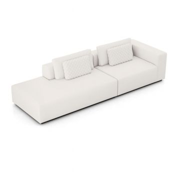 Spruce Right Sofa with End Unit - Chalk Fabric