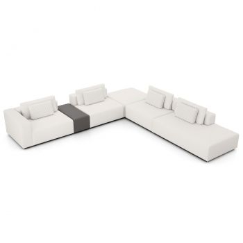 Spruce Sectional Left Arm Sofa with End Unit - Chalk Fabric