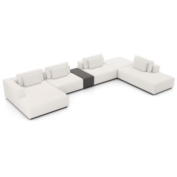 Spruce Sectional Left Sofa with End Unit and Chaise - Chalk Fabric