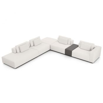Spruce Sectional Right Arm Sofa with End Unit - Chalk Fabric