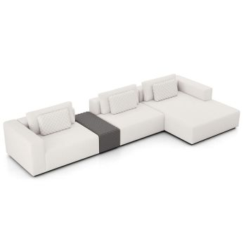 Spruce Sectional Sofa with Chaise and Armrest - Chalk Fabric