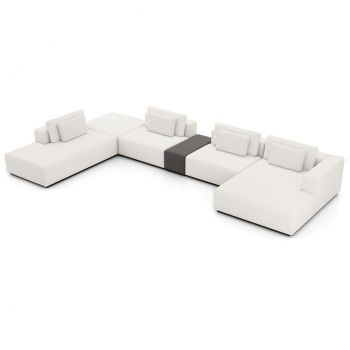 Spruce Sectional Right Sofa with End Unit and Chaise - Chalk Fabric