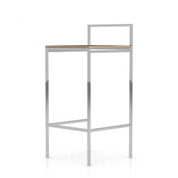 Udine Bar Stool - Canaletto Walnut, Frame in Chrome Steel