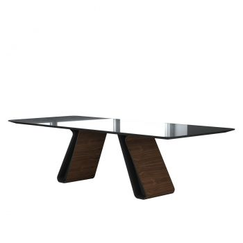 Wembley Dining Table - Graphite Glass, Legs in Metallic Graphite and Walnut